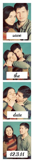 Photo booth Save the Date Strip in vintage tones