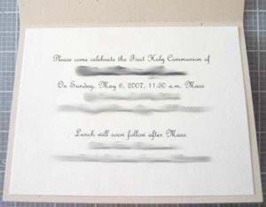 holy communion invitations wording inside card