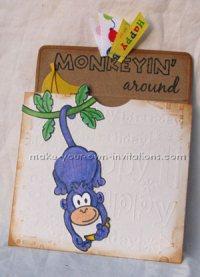 pocket monkey themed birthday invitations