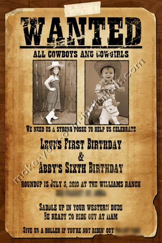Wanted poster invitations for a shared party