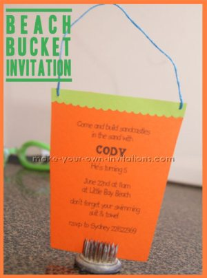 beach bucket invitations