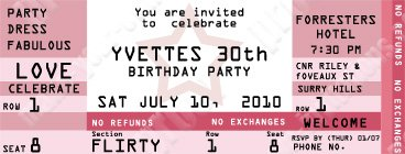 How to make ticket invitations for birthday parties weddings etc for Make your own concert tickets
