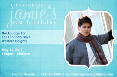 Cool blue birthday photo invitation