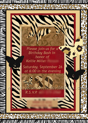 Jungle Animal Print Invitations