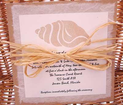 beach shell wedding invitation