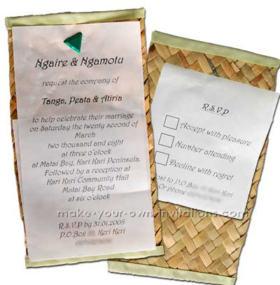 Maori beach wedding invitation