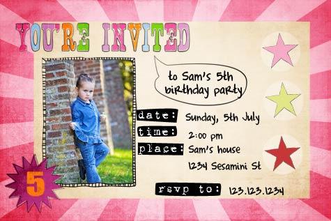 Sunburst Birthday Girls Photo Invitation