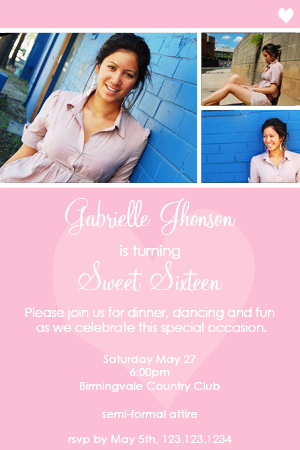 A beautiful invitation with room for up to 3 photos of your sweet girls 16th