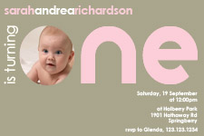 pink invitation for a one year old