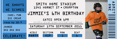 Sports Ticket Invitation  Printable Ticket Invitations