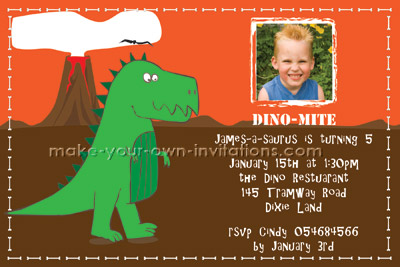 Custom dinosaur birthday invitation