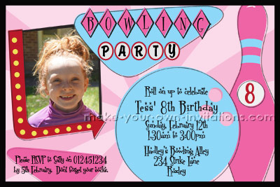girls bowling party invitation