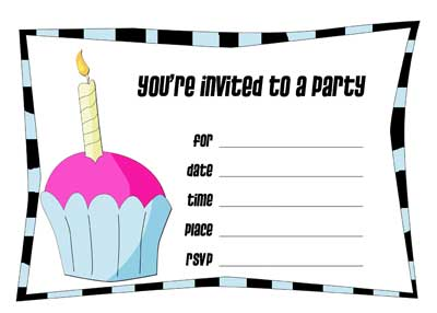 printable birthday invitations - cupcake