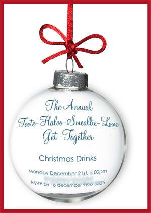 bauble christmas invitation