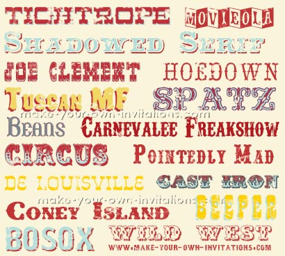 circus invitation fonts
