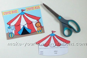 big top carnival party invitation template supplies