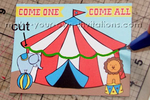 circus invitation cut