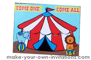 circus party invitation assembled