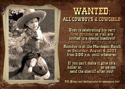 Cowgirl and Cowboy Invitations Make Western Party Invitation Ideas – Cowboy Party Invitation Wording