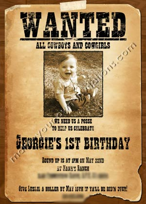 Western Invitations And Samples For A Wanted Poster Invite - Cowboy birthday invitation template