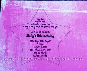 fairy invitations printed on star