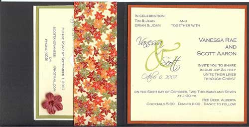 autumn wedding invitation design.