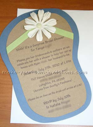 Flip Flop Invitations for Bridal Showers Tutorial