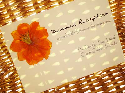 Pressed flowers invitations - the reception card.