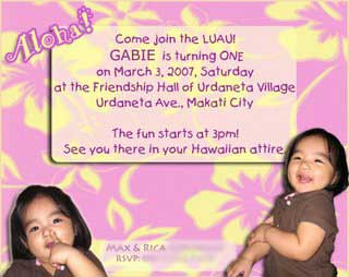 gabbies hawaiian luau invitations