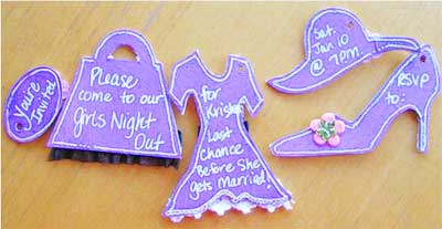 ladies night out invitations on a keychain