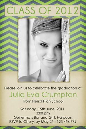 green grey graduation invitation