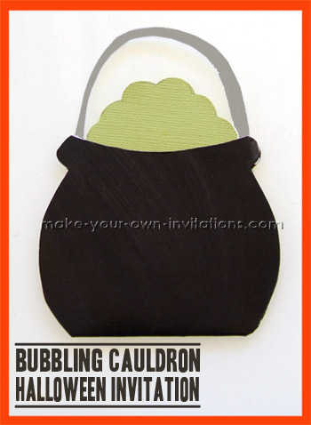 Cauldron halloween party invitations