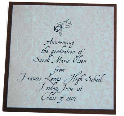 High school graduation invite in pink and brown