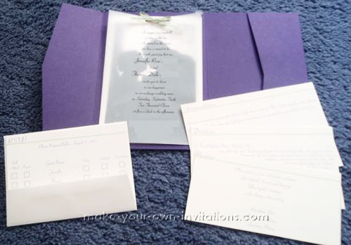 Homemade Pocket Fold Wedding Invitations