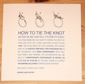 Tie The Knot Wedding Invitations and wording