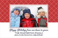 Family Picture Christmas Card in red