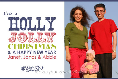 Holly Jolly Printable Christmas Card