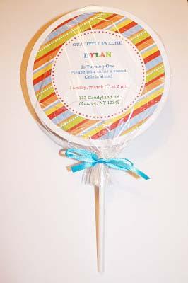 homemade lollipop invitations