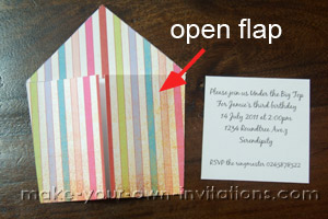 circus invitations with the front flaps