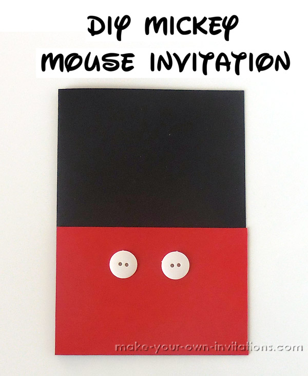 Homemade Mickey Mouse Birthday Invitations