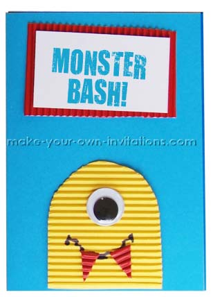 monster halloween invitation card