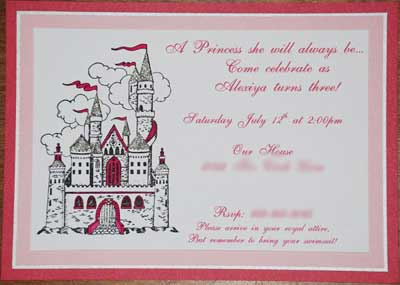 princess party invitations