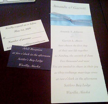 ribbon wedding invitations.