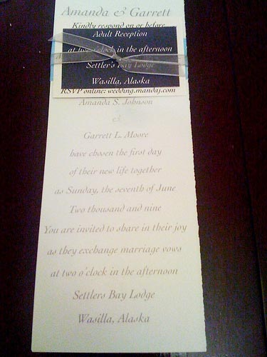 ribbon wedding invites