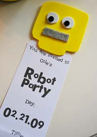 Robot Invitations party details