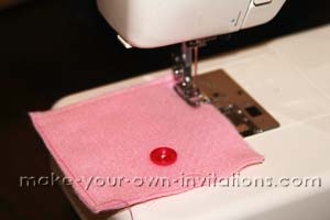 sew around the edges of the invitation pocket