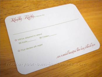 Simple Wedding Invitation RSVP card