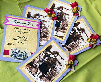 Spring Tea invitation with vintage art supplies.