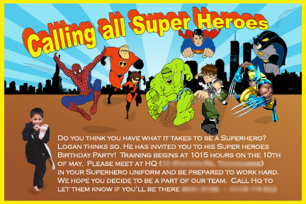 Superhero wording akbaeenw homemade superhero invitations make your own invites stopboris Images