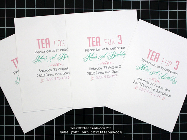 Tea party invitation wording printed.